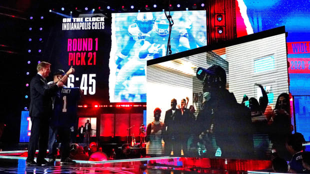 Apr 29, 2021; Cleveland, Ohio, USA; Kadarius Toney (Florida) with NFL commissioner Roger Goodell over video call after being selected by the New York Giants as the number 20 overall pick in the first round of the 2021 NFL Draft at First Energy Stadium.