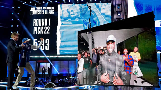 Apr 29, 2021; Cleveland, Ohio, USA; Kwity Payne (Michigan) with NFL commissioner Roger Goodell over video call after being selected by the Indianapolis Colts as the number 21 overall pick in the first round of the 2021 NFL Draft at First Energy Stadium.