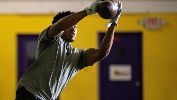 Former Trinity and Purdue star wide receiver, Rondale Moore, works out at Aspiration Fitness in Louisville on Thursday. Moore is projected to go in the first round of the NFL draft.Alton
