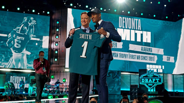 DeVonta Smith after the Eagles took him 10th overall in the 2021 NFL Draft