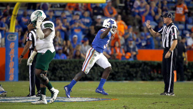Nov 18, 2017; Gainesville, FL, USA; Florida Gators defensive back Shawn Davis (31) celebrates as they recovered the fumble against the UAB Blazers during the second half at Ben Hill Griffin Stadium. Mandatory Credit: Kim Klement-USA TODAY Sports