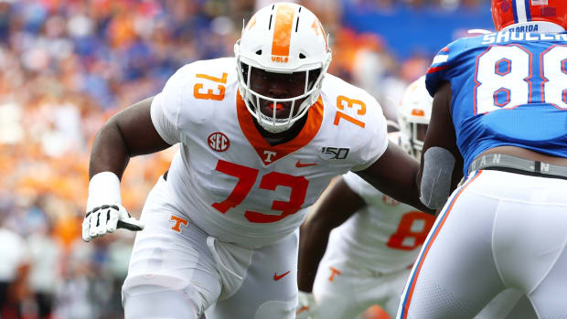 Sep 21, 2019; Gainesville, FL, USA;Tennessee Volunteers offensive lineman Trey Smith (73) blocks during the first quarter at Ben Hill Griffin Stadium. Mandatory Credit: Kim Klement-USA TODAY Sports