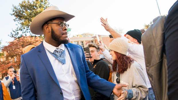 Tennessee offensive lineman Trey Smith (73) during the Vol Walk held before a football game between Tennessee and UAB at Neyland Stadium on Saturday, November 2, 2019. Kns Uabvut1102 Bp Jpg