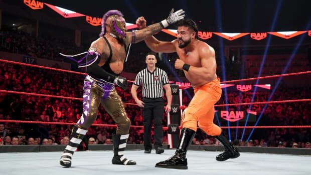 Andrade battles with Rey Mysterio