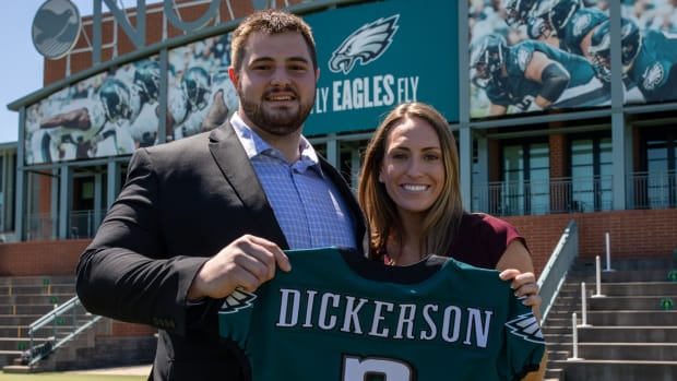 Landon Dickerson with his girlfriend and Eagles jersey