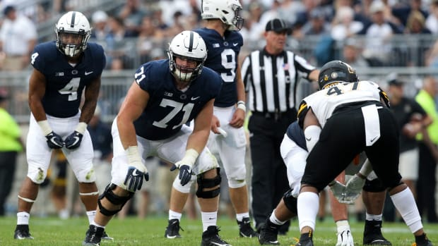 Sep 1, 2018; University Park, PA, USA; Penn State Nittany Lions offensive linesmen Will Fries (71) during the third quarter against the Appalachian State Mountaineers at Beaver Stadium. Penn State defeated Appalachian State 45-38 in overtime. Mandatory Credit: Matthew O'Haren-USA TODAY Sports