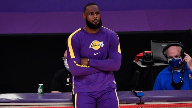 LeBron James of the Lakers prepares to enter the game.