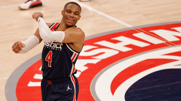 Wizards' Russell Westbrook celebrates on the court