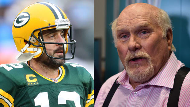 Green Bay Packers quarterback Aaron Rodgers and Fox's Terry Bradshaw
