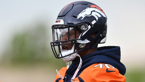 Jun 4, 2019; Denver, CO, USA; Denver Broncos offensive tackle Ja'Wuan James (70) looks on during mini camp drills at the Pat Bowlen Fieldhouse at UCHealth Training Center.