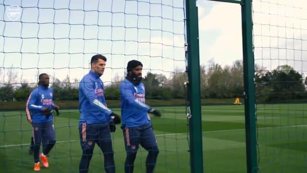 Lacazette in Arsenal training ahead of Villarreal semi-final