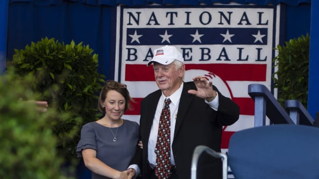 Jul 21, 2019; Cooperstown, NY, USA; Hall of Famer Gaylord Perry is introduced during the 2019 National Baseball Hall of Fame induction ceremony at the Clark Sports Center.