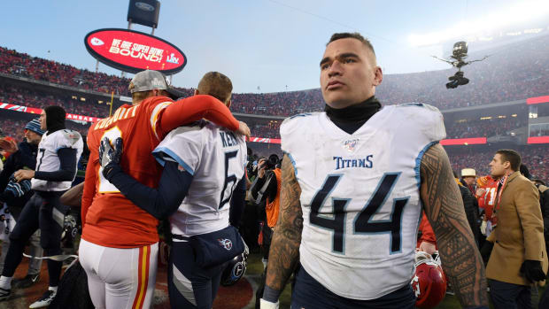 Tennessee Titans outside linebacker Kamalei Correa (44) walks off the field after the team s 35-24 loss to the Kansas City Chiefs in the AFC Championship game at Arrowhead Stadium Sunday, Jan. 19, 2020 in Kansas City, Mo. 85a8418