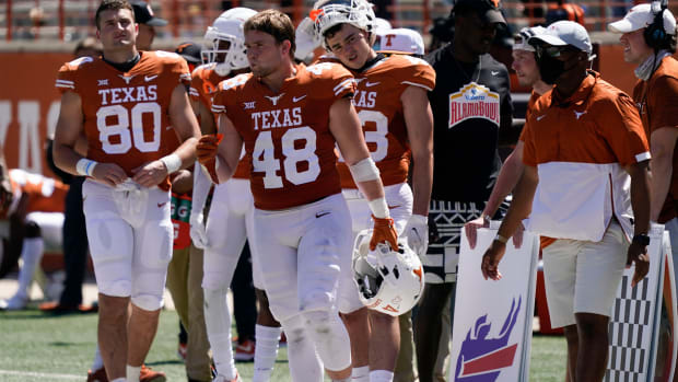 Apr 24, 2021; Austin, Texas, USA; Texas Longhorns Orange linebacker, and brother of former Longhorns quarterback Sam Ehlinger, Jake Ehlinger during the fourth quarter of the Orange-White Texas Spring Game at Darrell K Royal-Texas Memorial Stadium.