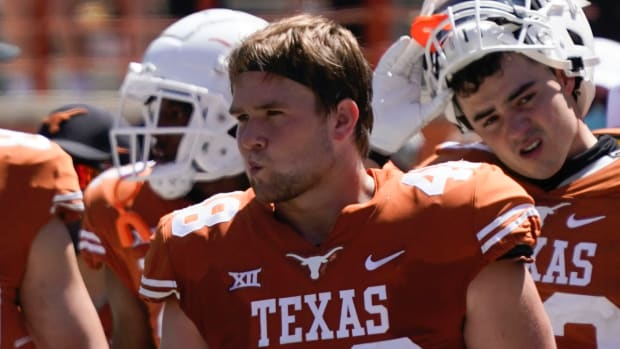 Apr 24, 2021; Austin, Texas, USA; Texas Longhorns Orange linebacker Jake Ehlinger, brother of former Longhorns quarterback Sam Ehlinger, during the fourth quarter of the Orange-White Texas Spring Game at Darrell K Royal-Texas Memorial Stadium.