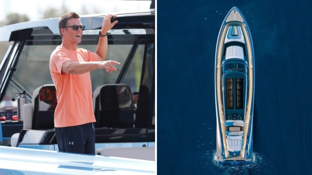 Side by side image of Tom Brady and his new boat