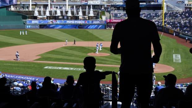 Apr 4, 2021; Kansas City, Missouri, USA; Kansas City Royals fans take their seats before the fourth inning against the Texas Rangers at Kauffman Stadium. Mandatory Credit: Jay Biggerstaff-USA TODAY Sports