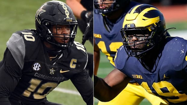 Dayo Odeyingbo (left) and Kwity Paye, pass rushers selected by the Indianapolis Colts in the 2021 NFL Draft.