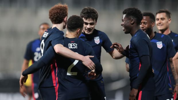 The USMNT celebrates a goal vs. Jamaica