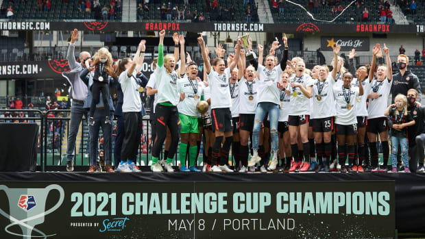 Portland Thorns celebrating their Challenge Cup win.
