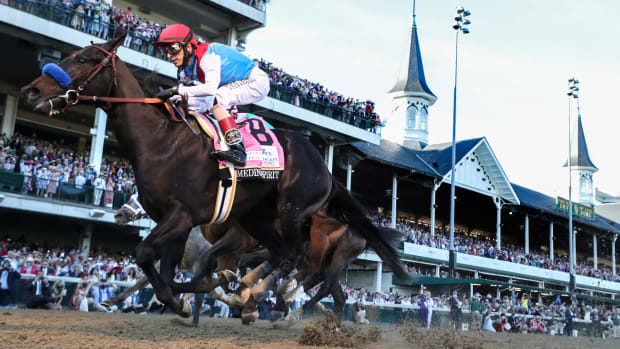 Medina Spirit winning the Kentucky Derby.