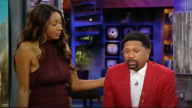 Maria Taylor comforting Jalen Rose on ESPN