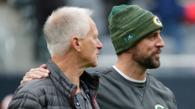 Kenny Mayne with Packers quarterback Aaron Rodgers