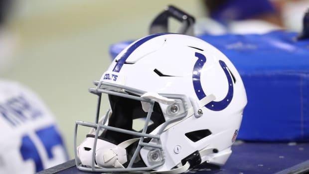 Dec 13, 2020; Paradise, Nevada, USA; Detailed view of an Indianapolis Colts helmet against the Las Vegas Raiders at Allegiant Stadium. Mandatory Credit: Mark J. Rebilas-USA TODAY Sports