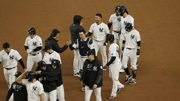 New York Yankees celebrate walk-off win