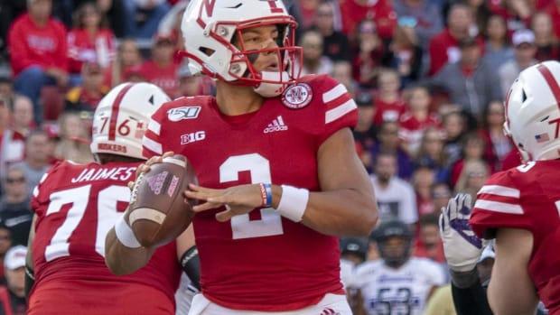 Adrian Martinez looks for a receiver in Nebraska's game against Northwestern in October 2019.