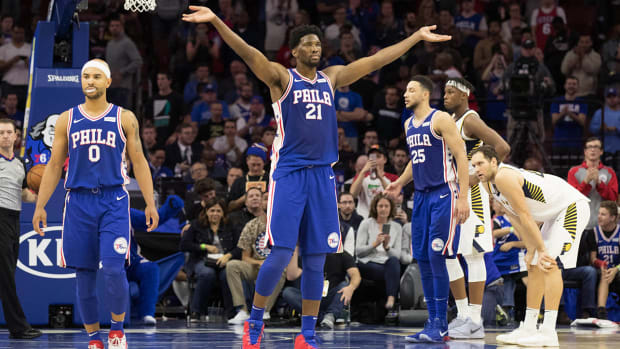 Joel Embiid gets the crowd on its feet.