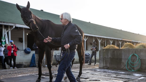 Bob Baffert and Kentucky Derby winner Medina Spirit.