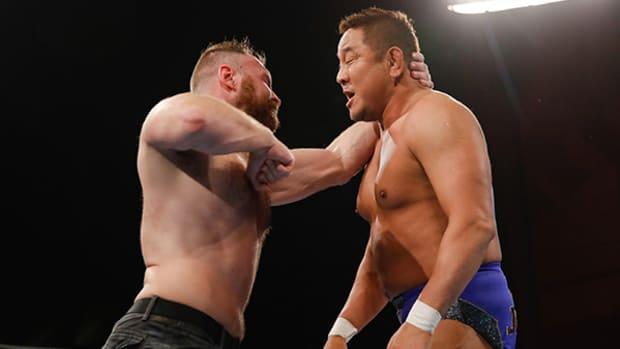 Jon Moxley hits Yuji Nagata with a forearm