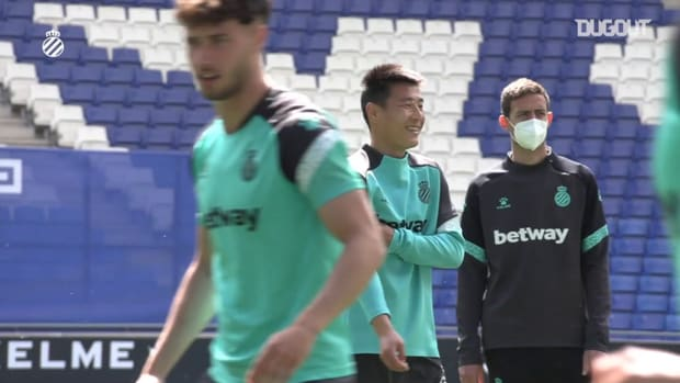 Wu Lei in training following Espanyol's promotion