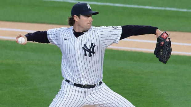 Yankees' Gerrit Cole delivers a pitch.