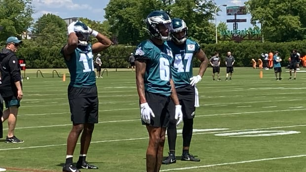 DeVonta Smith at Eagles rookie camp on May 14, 2021