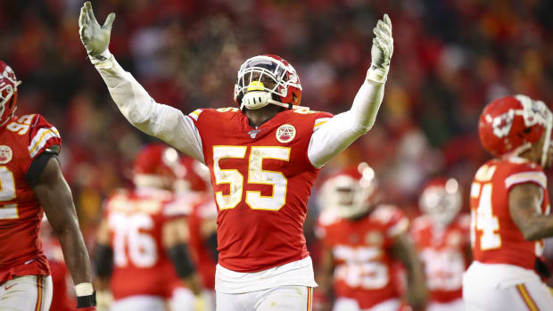 Jan 12, 2020; Kansas City, MO, USA; Kansas City Chiefs defensive end Frank Clark (55) celebrates during the fourth quarter against the Houston Texans in a AFC Divisional Round playoff football game at Arrowhead Stadium. Mandatory Credit: Mark J. Rebilas-USA TODAY Sports