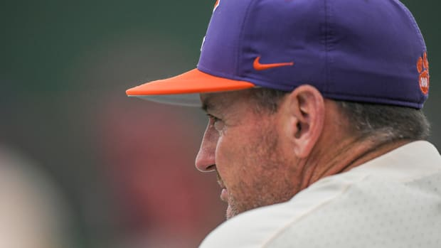 Clemson head coach Monte Lee looks on in a game against the South Carolina Gamecocks