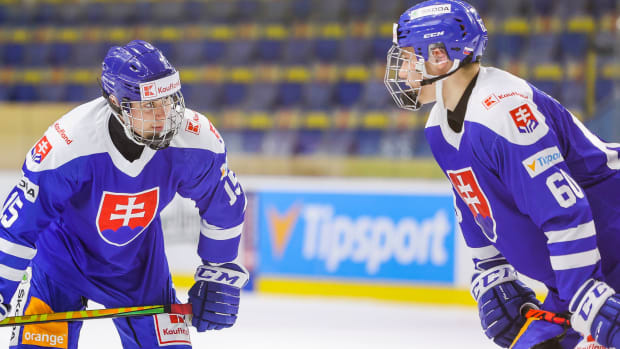 Simon Nemec and Juraj Slafkovsky