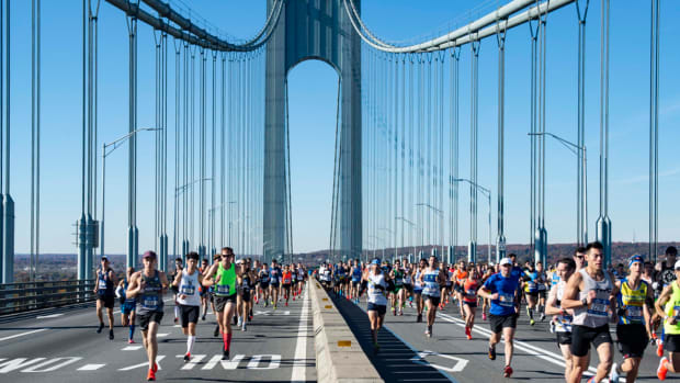 More than 50,000 runners at the start of the New York City Marathon on the Verrazzano-Narrows Bridge.