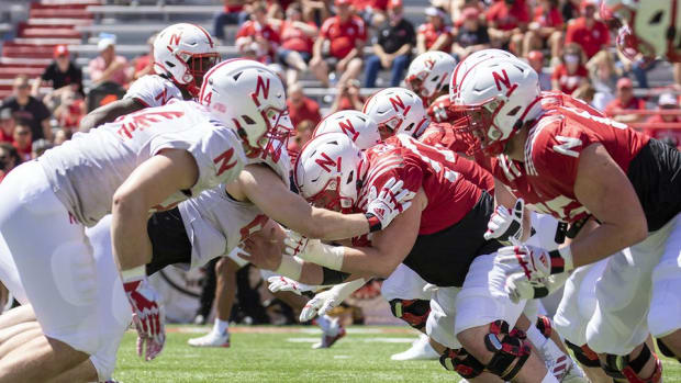 Line play, Nebraska football spring game