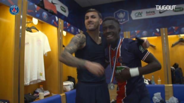 Behind the scenes: Paris Saint-Germain locker room celebrations after winning Coupe de France