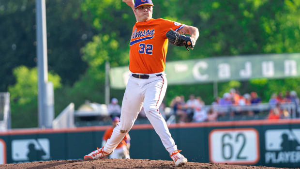 Mack Anglin pitches for Clemson against Duke in crucial ACC series to end season.