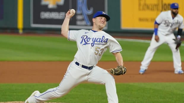 May 21, 2021; Kansas City, Missouri, USA; Kansas City Royals relief pitcher Tyler Zuber (53) delivers a pitch in the seventh inning against the Detroit Tigers at Kauffman Stadium. Mandatory Credit: Denny Medley-USA TODAY Sports
