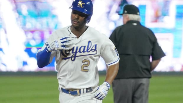 May 21, 2021; Kansas City, Missouri, USA; Kansas City Royals center fielder Michael A. Taylor (2) celebrates while running the bases after hitting a two run home run in the sixth inning against the Detroit Tigers at Kauffman Stadium. Mandatory Credit: Denny Medley-USA TODAY Sports