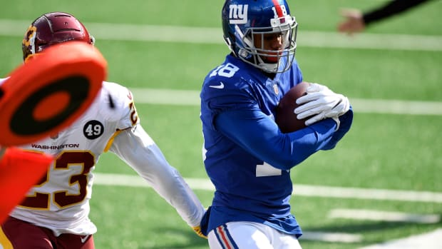 New York Giants wide receiver C.J. Board (18) makes a catch against the Washington Football Team at MetLife Stadium on Sunday, Oct. 18, 2020, in East Rutherford.