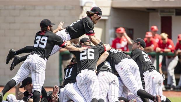 Dogpile after Nebraska wins 2021 Big Ten baseball title
