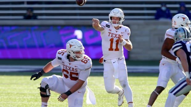 Dec 5, 2020; Manhattan, Kansas, USA; Texas Longhorns quarterback Sam Ehlinger (11) passes the ball during a game against the Kansas State Wildcats at Bill Snyder Family Football Stadium.