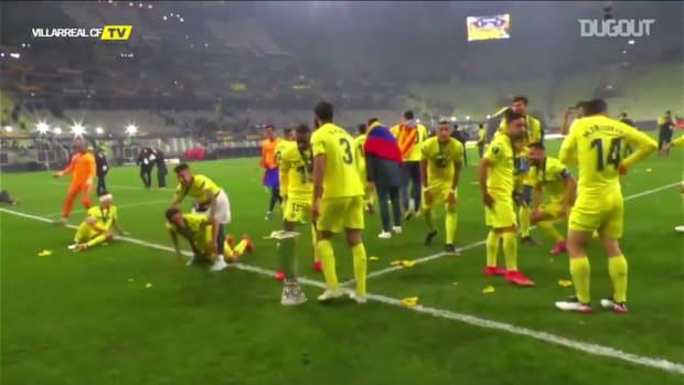 Villarreal celebrate Europa League triumph with pitch-slide and net cutting