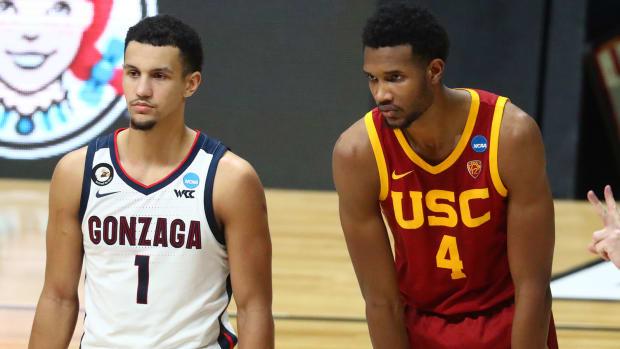 Gonzaga Bulldogs guard Jalen Suggs and Southern California Trojans forward Evan Mobley